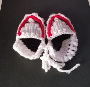 手編みのベビーシューズ(白)