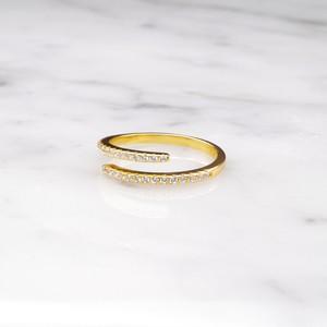S925 LOW ZIRCONIA OPEN RING GOLD