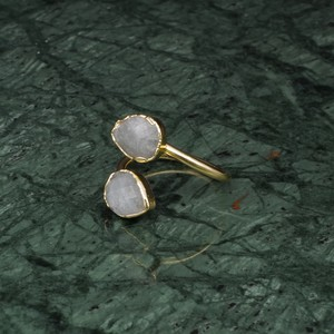 DOUBLE STONE OPEN RING GOLD 030
