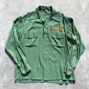 50's CRADDOCS レーヨン ボーリングシャツ シェルボタン シュライナー オープンカラー 刺繍 長袖 グリーン OMEGA フリーメイソン M 希少 ヴィンテージ