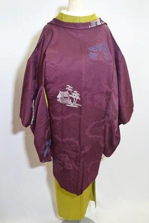【アンティーク羽織】紫地に豪華な地紋様☆五重塔【美品】