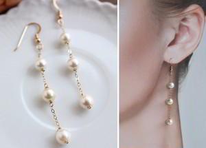 あこや真珠の3連チェーン・ロングパールピアス(14金ゴールドフィル金具)