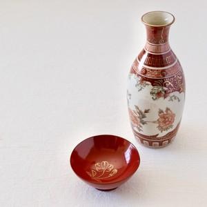 [KR070] 九谷焼 赤絵徳利 昭和 / Kutani Flower Sake Bottle/ Showa Era