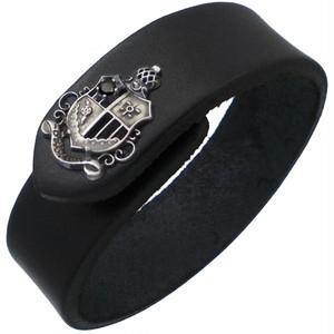 ブラックCZ シールド エンブレム ブラックレザー ブレスレット*BB-1021