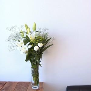 お盆企画! お供え花グリーン系ミックス(10本+カスミソウ2本)