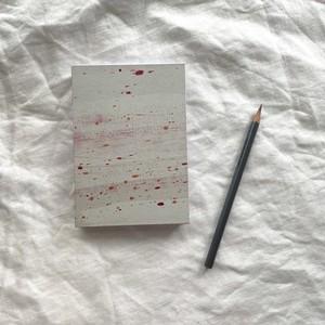 描いた紙を使った御朱印帖 グレーに赤系02
