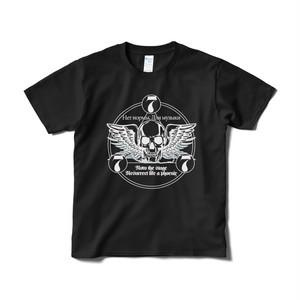 ロックTシャツ(777ロゴ:黒・前面)
