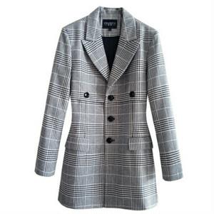 メンズビジネスグレンチェックジャケット。ロング丈ブラック/ブラウン2カラー