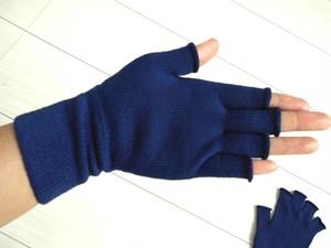 ◆100%自然素材 天然灰汁発酵建て 本藍染◆ オーガニックコットン 指先フリー手袋