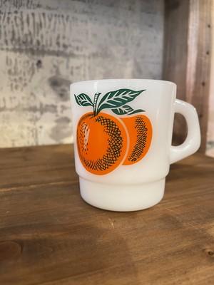 ターモクリサ ビンテージ マグカップ ミルクガラス みかん オレンジ