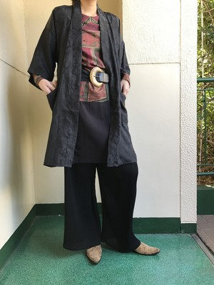 Vintage chinese black silk haori