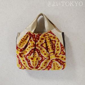 ウズベキスタンの香り!元気な黄色と赤のシルクベルベットバッグ/着物に合うバッグ