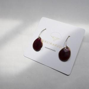 PEKI!RARIGON Wire Stone Earrings  red