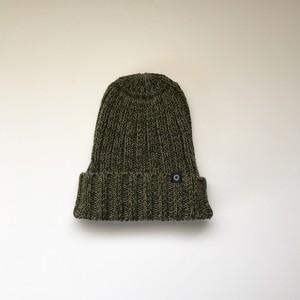 手横編機で作った・ローゲージニット帽  カーキグリン