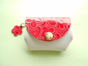 チェリーピンク・お花型押しレザー・とっても便利なふっくらお財布・受注販売