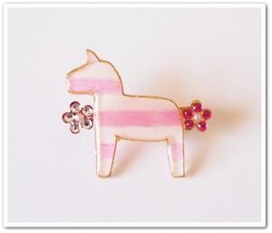 シマうまブローチ*ピンク*