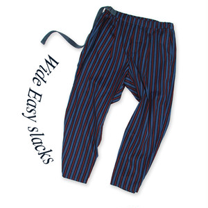 Wide Easy slacks [Navy stripe]