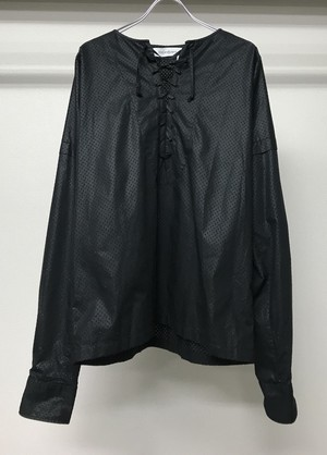 SS2012 YSL BY STEFANO PILATI LACE UP L/S TEE BLK