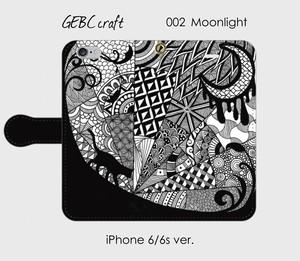 【iPhone】手帳型スマホケース「002 猫とMoonlight」