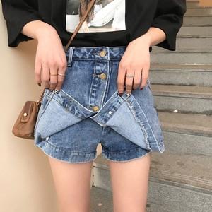 【bottoms】韓国系ハイウエストボタンデニム無地パンツ・スカート