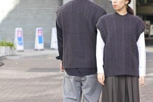 【Phlannèl】Wool Yak Cable Knit Vest(Unisex)