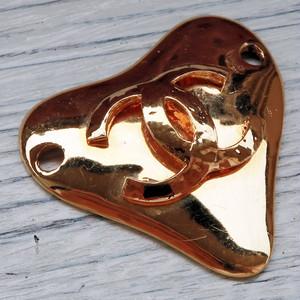 731-3 CHANEL(ヴィンテージ シャネル) COCOマーク ハート型 チャーム ゴールド
