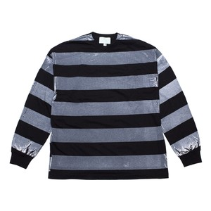 EZ DO by EACHTIME. / PRINT BORDER L/S [BK/WH]