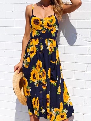 Front button flower dress