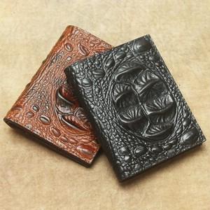 Leather Wallet Crocodile Purse Wallet レザー スリム 天然 財布 パスケース ウォレット (YYB99-3571049)