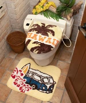 【kahiko/カヒコ】ハワイアンバストイレマット ベージュ 洗濯機で丸洗いOK!