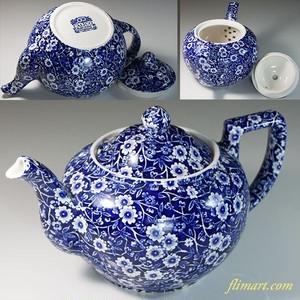 BULEIGH BLUE CALICO バーレイブルーキャリコ花柄更紗ティーポットL 1.0L