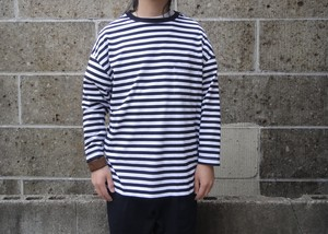 VINCENT ET MIREILLE (ヴァンソン エ ミレイユ) 3/4 CREW NECK STRIPED BIG T-SHIRT