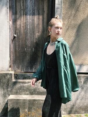 80s green big silk shirt ( ヴィンテージ グリーン ビッグ シルク シャツ )