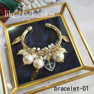 bracelet-01 vintageガラスストーンとパールバングル