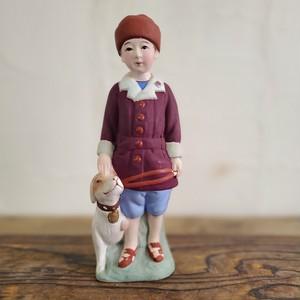 希少 犬と少年 土人形