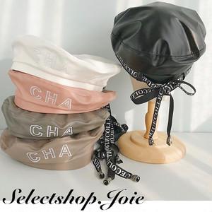 バックリボンロゴデザインベレー帽 5色展開