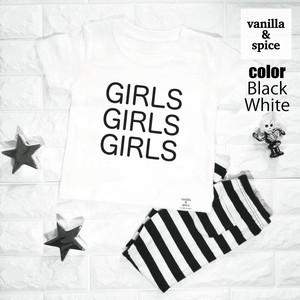 プリント 半袖 Tシャツ GIRLS Logo ガール 女の子 ロゴ 子供服 キッズ vanilla&spice バニラ&スパイス