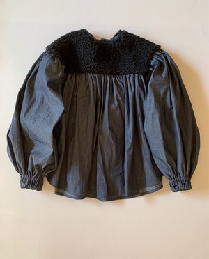 Lサイズ boa gather blouse*  black boa×denim