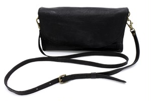Yezo deer shoulder bag wallet tanned black