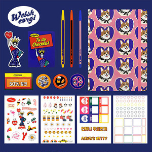 wiggle-diary-set(welsh-corgi)