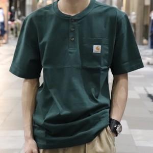 【Carhartt】Henley Neck T-Shirts  カーハート ヘンリーネックtシャツ アメリカ企画 新品 グリーン A732