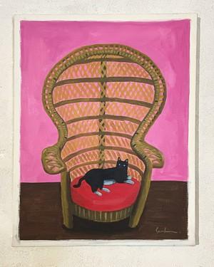 夫人の椅子で寛ぐ猫