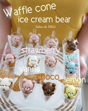 (レッスン取り入れ復習用)ミント君Waffle cone ice cream bear