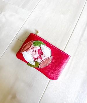Sakura革小物 ポーチ 本革 レッド &クロコ型押し ホワイトイエロー w/ さくら チュール