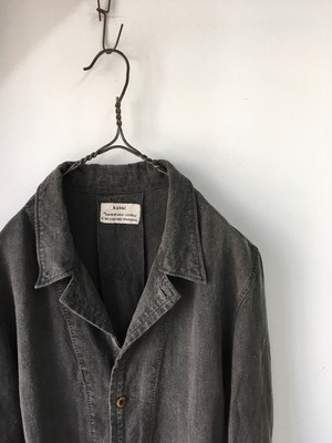 """kaval/new shop coat """"sumi ink dyed""""(カヴァルの墨染めリネンコート)(期間限定販売)"""