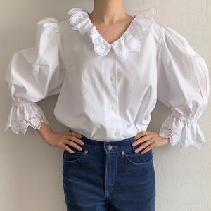80's-90's vintage white puffed sleeve v-neck blouse