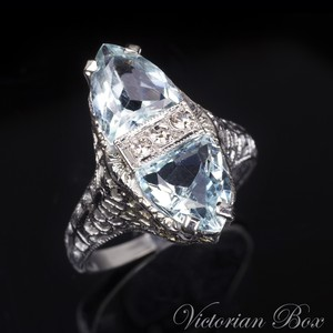 Art Deco Aquamarine Diamond Ring