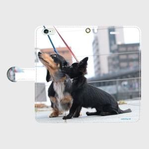 ダックスフンド チワワ 手帳型 スマートフォンケース iPhone6 plus/iPhone6s plus 犬 iPhoneケース