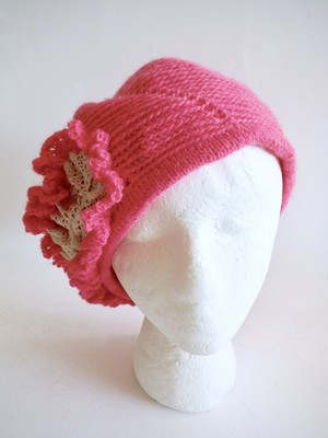 受注製作 レース付きベレー帽 ピンク
