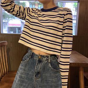 【トップス】シンプル合わせやすいレトロストライプTシャツ